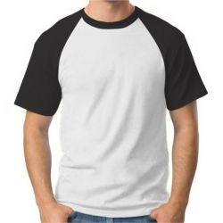 Camisa Raglan Branca e Preta