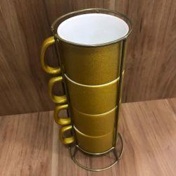Suporte p/ 4 Xícaras de 200ml Dourado