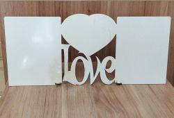 Porta Retrato A3 MDF - Tema: LOVE C/ CORAÇÃO