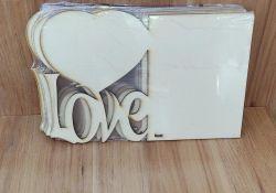 Porta Retrato A4 MDF - Tema: Love Coração