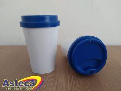 Copo Bucks Branco 400 ml C/ Tampa Azul Royal