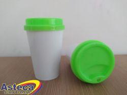 Copo Bucks  Branco 400 ml C/ Tampa Verde Neon